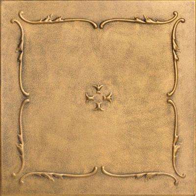 Spring Buds 1.6 ft. x 1.6 ft. Glue Up Foam Ceiling Tile in Antique Gold