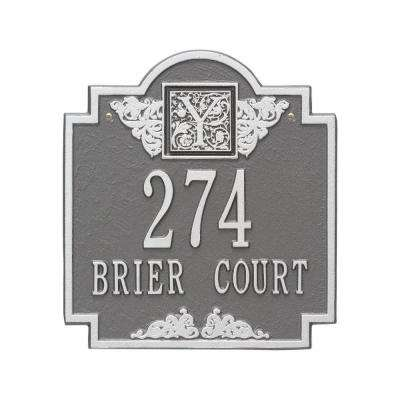 Monogram Standard Wall Square Pewter/Silver 2-Line Address Plaque