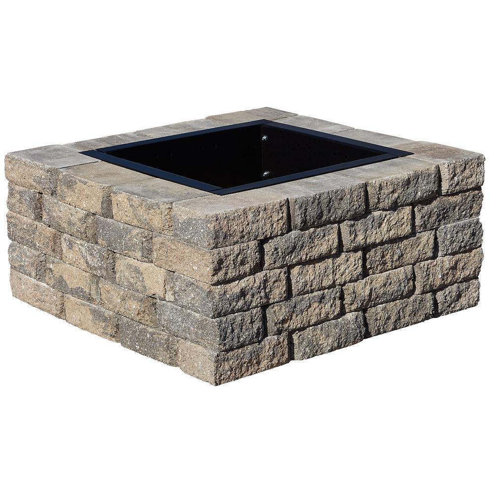 SplitRock 38.5 in. W x 17.5 in. H Square Fire Pit Kit in Charcoal/Tan