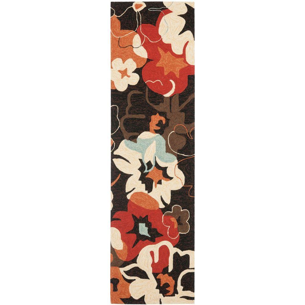 Safavieh Four Seasons Black/Orange 2 ft. 3 in. x 8 ft. Runner