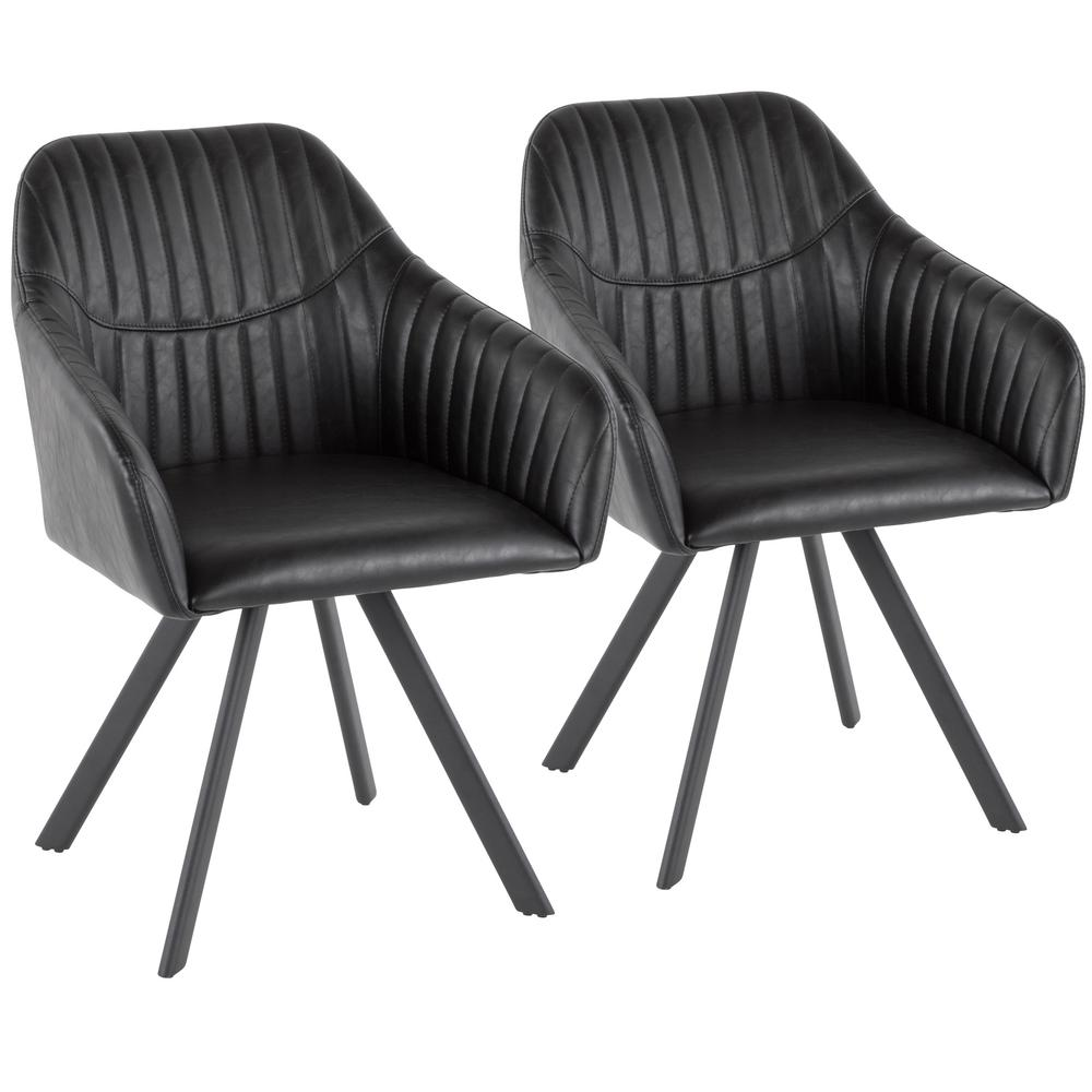 d0820389167f Lumisource Clubhouse Pleated Black Faux Leather Chair (Set of 2)-CH ...