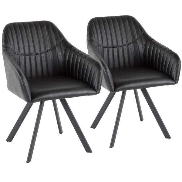 Lumisource Clubhouse Pleated Black Faux Leather Chair (Set of 2) CH-CLBP