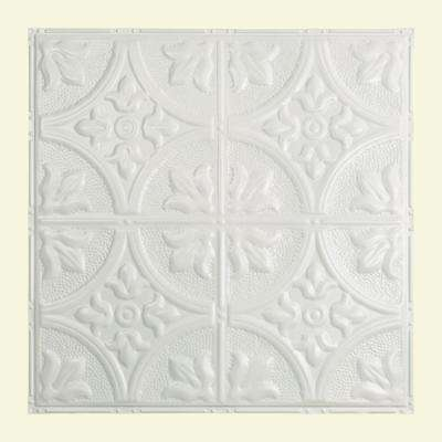 Jamestown 2 ft. x 2 ft. Nail-up Tin Ceiling Tile in Matte White