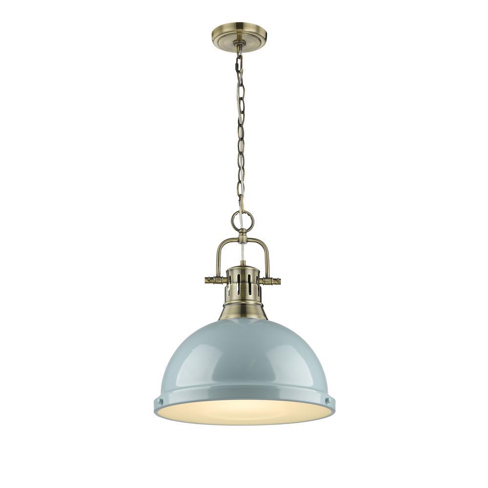 Golden Lighting Duncan AB 1-Light Aged Brass Pendant with Seafoam Shade