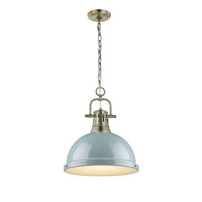 Duncan AB 1-Light Aged Brass Pendant with Seafoam Shade