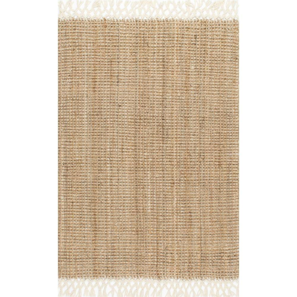 Nuloom Raleigh Farmhouse Jute With Wool Fringe Natural 8 Ft X 10 Area Rug