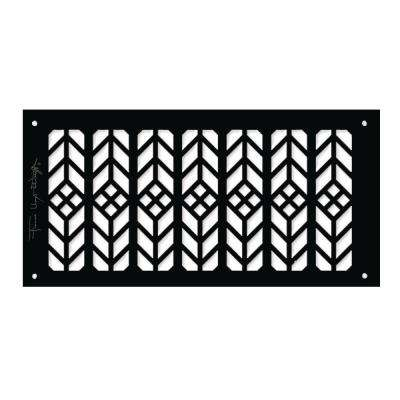 Frank Lloyd Wright Collection Floral Grille 6 in. x 12 in. Aluminum Black-Gloss