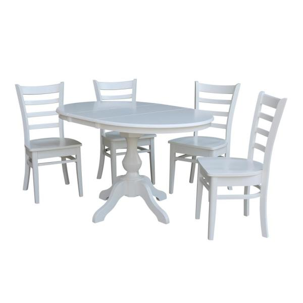 International Concepts Sophia 5 Piece White Oval Dining Table Set With Emily Chairs