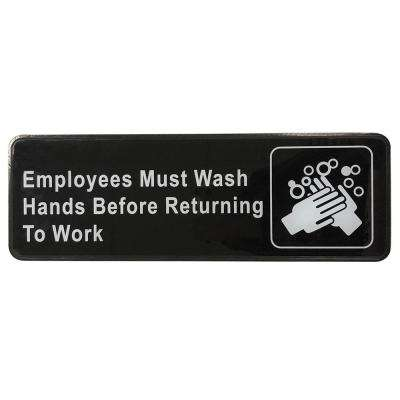 3 in. x 9 in. Plastic Employee Must Wash Hand Sign