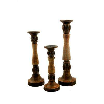 Brown Mango Wood Vintage Style Candleholder/Candlestick (Set of 3)