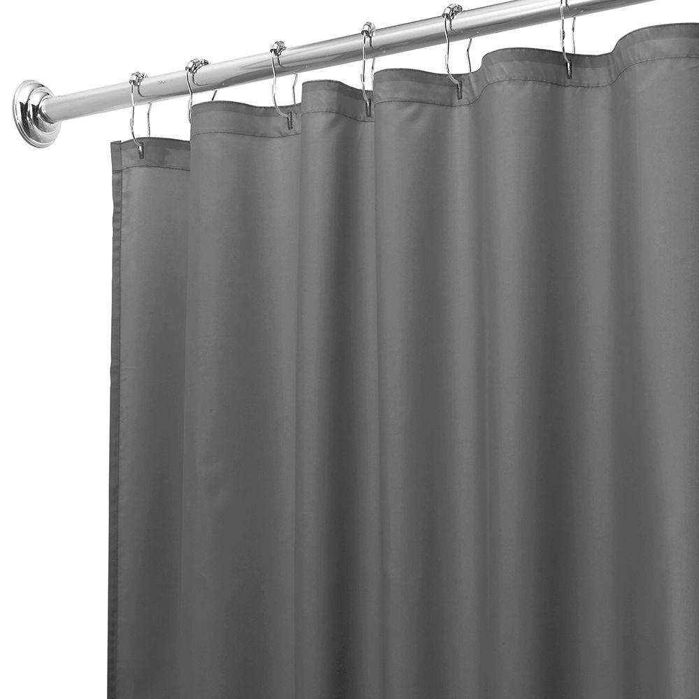 interDesign 72 in. x 72 in. Poly Shower Curtain in Liner Charcoal