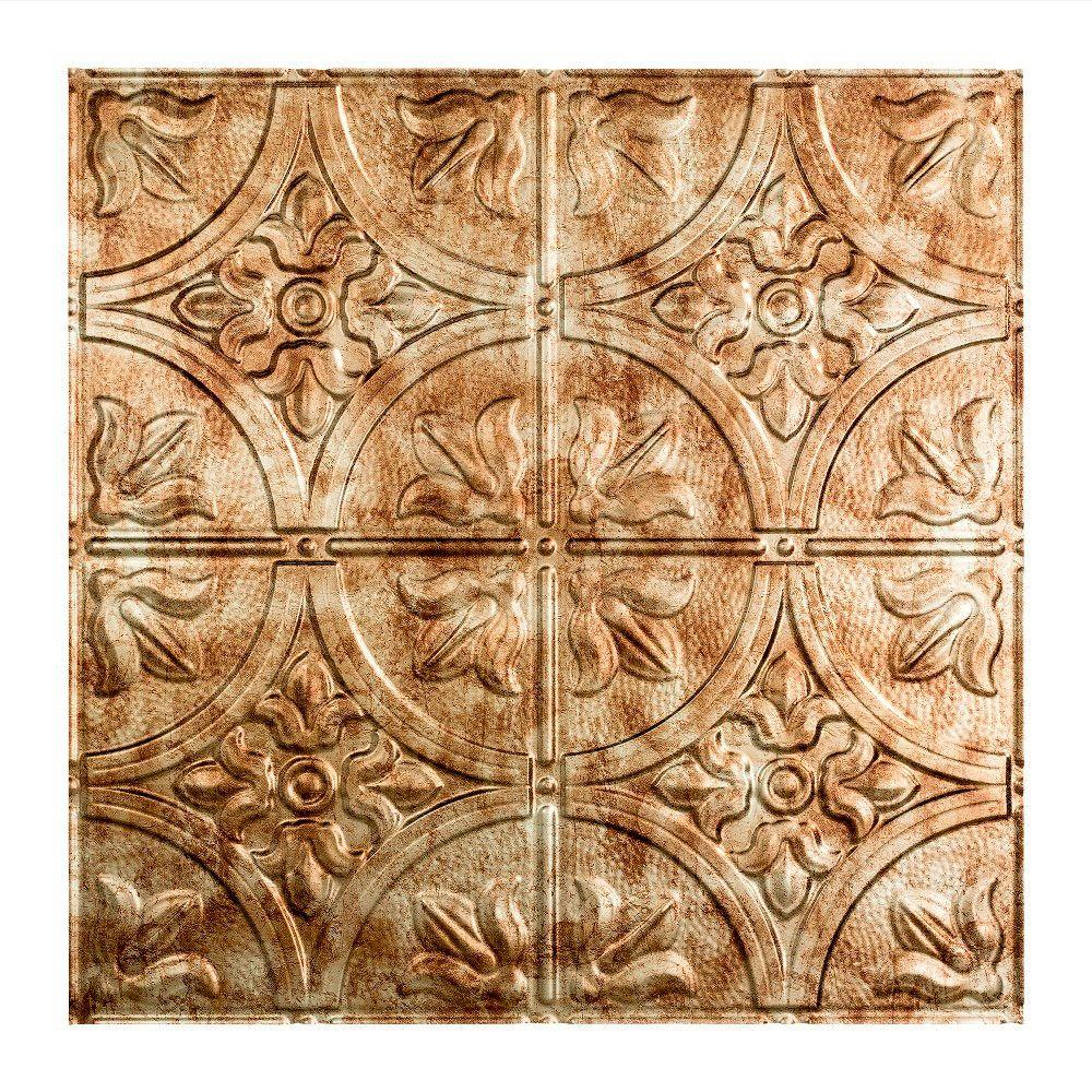 Fasade Traditional Style # 2 - 2 ft. x 2 ft. Vinyl Lay-In Ceiling Tile in Bermuda Bronze