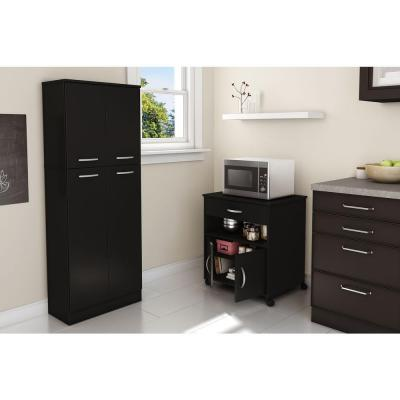 Axess Pure Black Microwave Cart with Storage