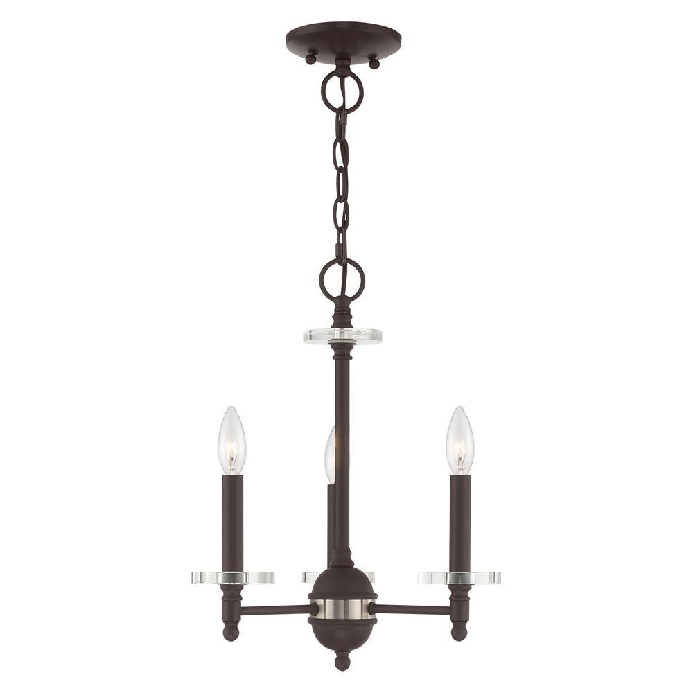 Livex Lighting Bancroft 3 Light Bronze Mini Chandelier With Clear Crystal Bobeche