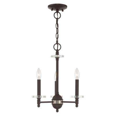 Bancroft 3-Light Bronze Mini Chandelier with Clear Crystal Bobeche