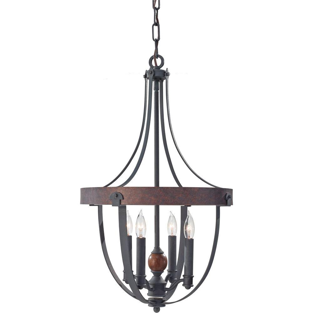 Feiss Alston 16 in. W 4-Light Weathered Charcoal Brick/Antique Forged Iron Chandelier with Faux Wood Detail