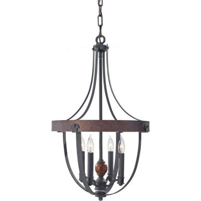 Alston 16 in. W 4-Light Weathered Charcoal Brick/Antique Forged Iron Chandelier with Faux Wood Detail