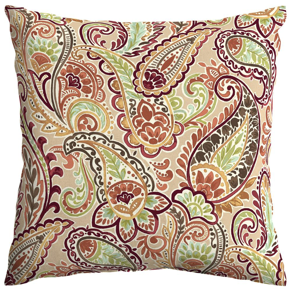 Hampton Bay Chili Paisley Square Outdoor Throw Pillow