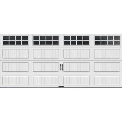 Gallery Collection 16 ft. x 7 ft. 6.5 R-Value Insulated White Garage Door with SQ24 Window