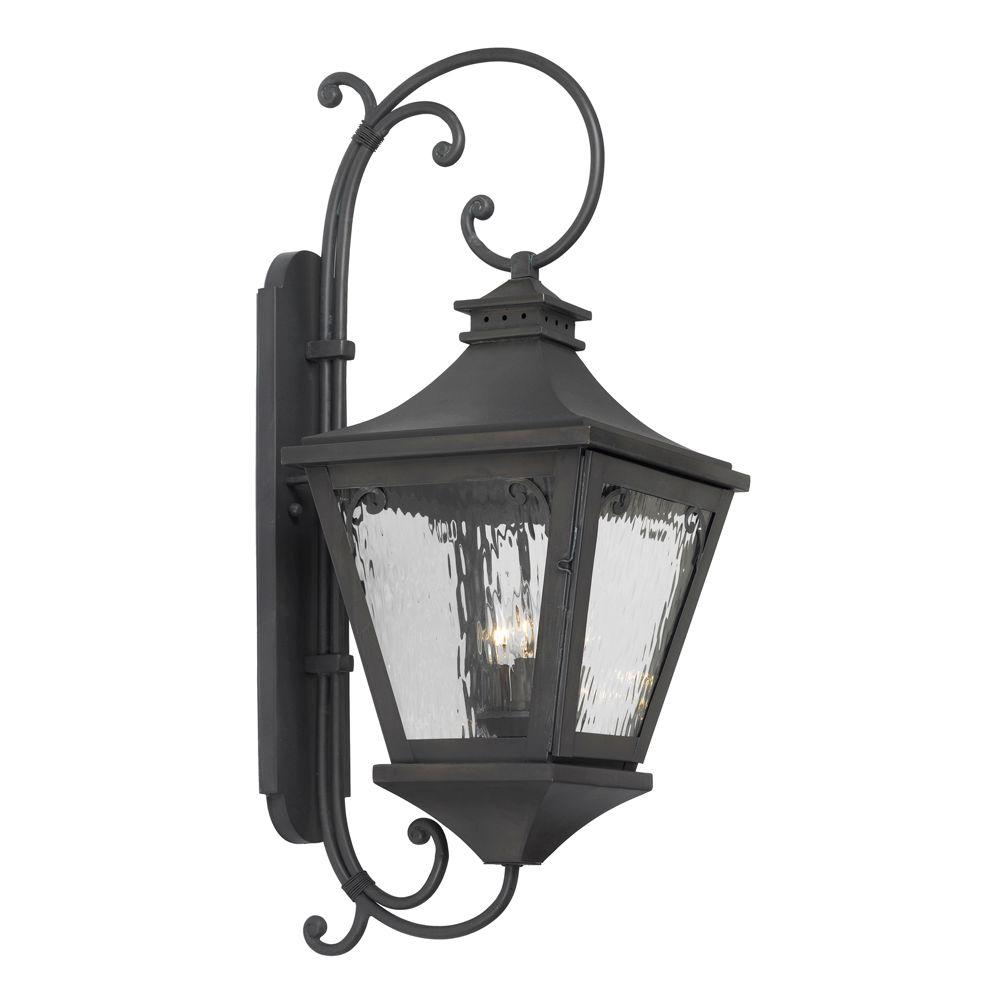 Titan Lighting Manor 3-Light Outdoor Black Charcoal Wall Mount Sconce
