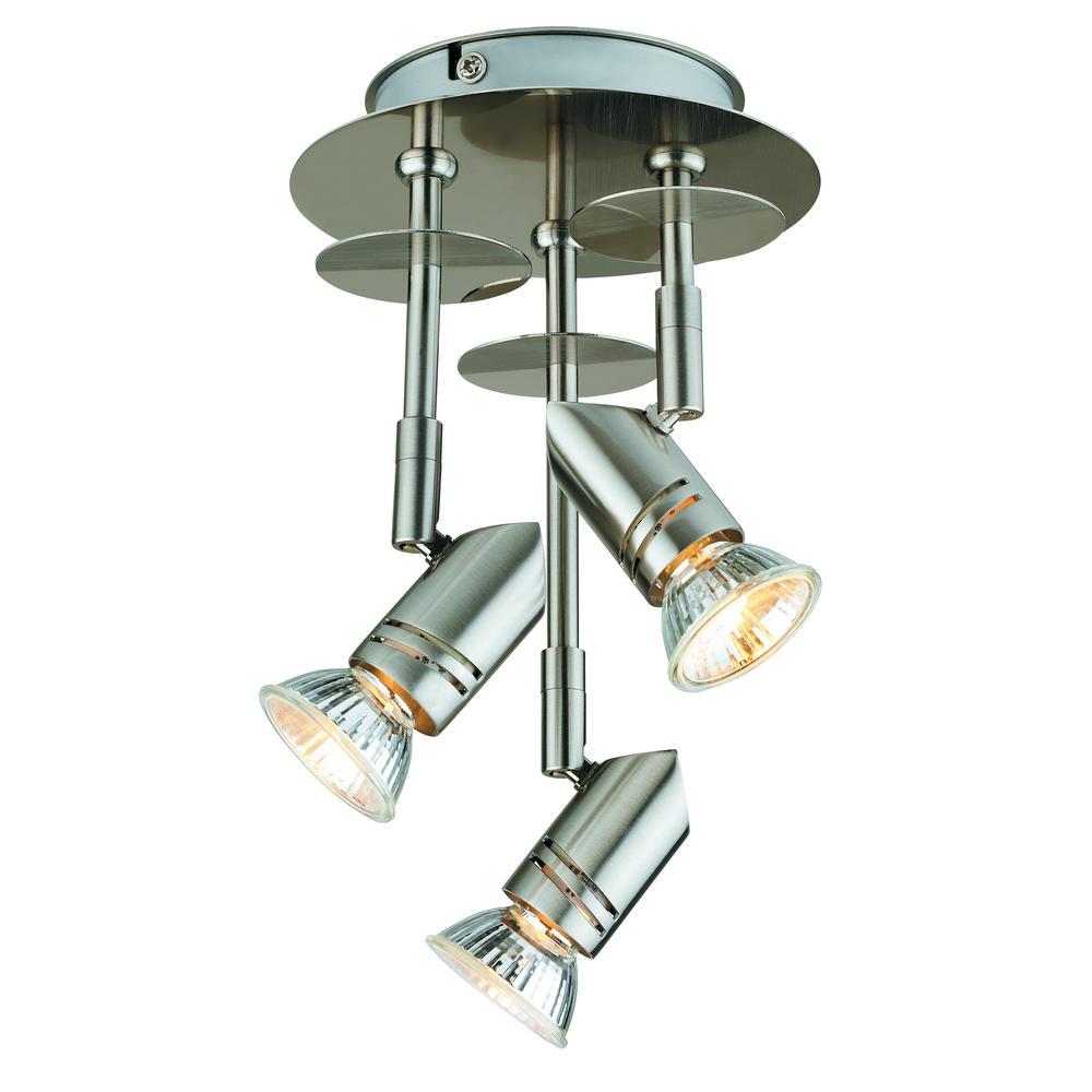 3-Light Brushed Steel Track Lighting Kit Canopy