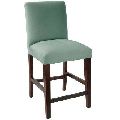 Velvet Caribbean Counter Stool With Diamond Tufted Back