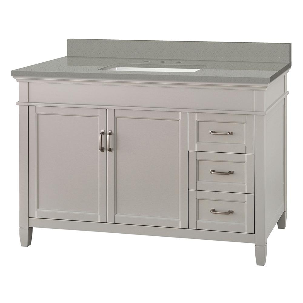 Foremost Ashburn 49 in. W x 22 in. D Vanity Cabinet in Grey with Engineered Quartz Vanity Top in Sterling Grey with White Basin