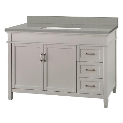 Ashburn 49 in. W x 22 in. D Vanity Cabinet in Grey with Engineered Quartz Vanity Top in Sterling Grey with White Basin