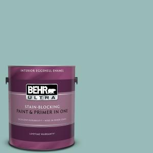 Behr Ultra 1 Gal Ppu12 06 Lap Pool Blue Eggshell Enamel Interior Paint And Primer In One 275401 The Home Depot