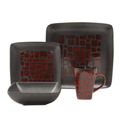 Cabazon 16-Piece Red Dinnerware Set