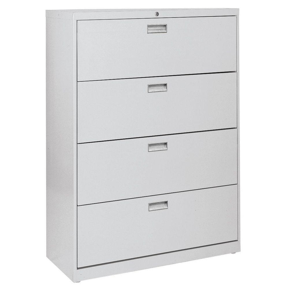W 4 Drawer Lateral File Cabinet In Dove Gray