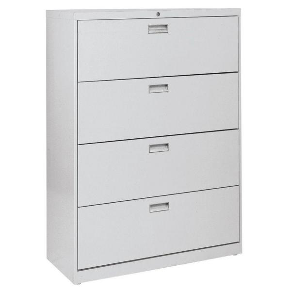 Sandusky 600 Series 42 in. W 4-Drawer Lateral File Cabinet in Dove Gray