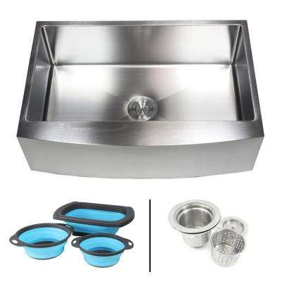 Farmhouse/Apron-Front 16-Gauge Stainless Steel 33 in. Curve Single Bowl Kitchen Sink w Collapsible Silicone Colanders