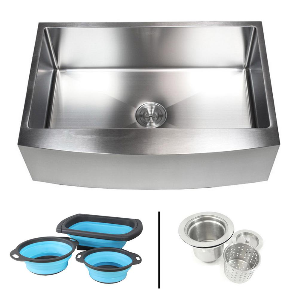 eModernDecor Farmhouse/Apron-Front 16-Gauge Stainless Steel 33 in. Curve  Single Bowl Kitchen Sink w Collapsible Silicone Colanders