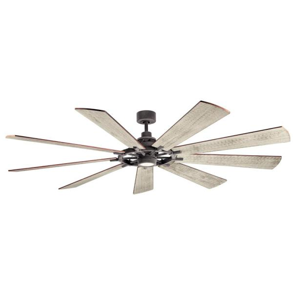 Gentry 85 in. Integrated LED Indoor Weathered Zinc Downrod Mount Ceiling Fan with Light Kit and Wall Control