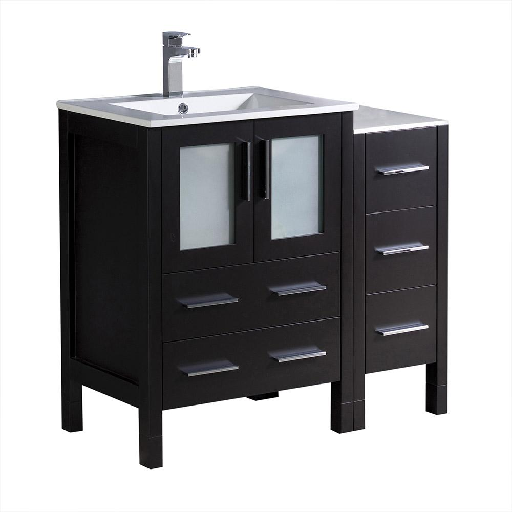Fresca Torino 36 in. Bath Vanity in Espresso with Ceramic Vanity Top ...