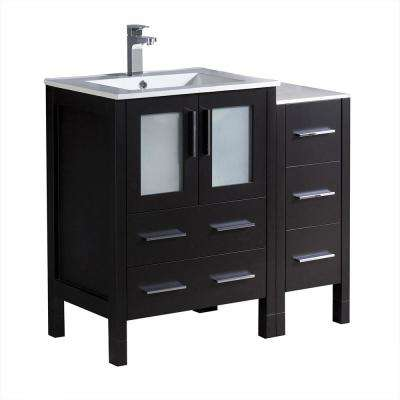Torino 36 in. Bath Vanity in Espresso with Ceramic Vanity Top in White with White Basin and 1 Side Cabinet