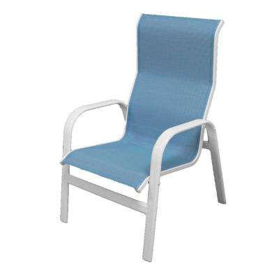 Marco Island White Commercial Grade Aluminum Patio Dining Chair With Dupione Poolside Sling 2