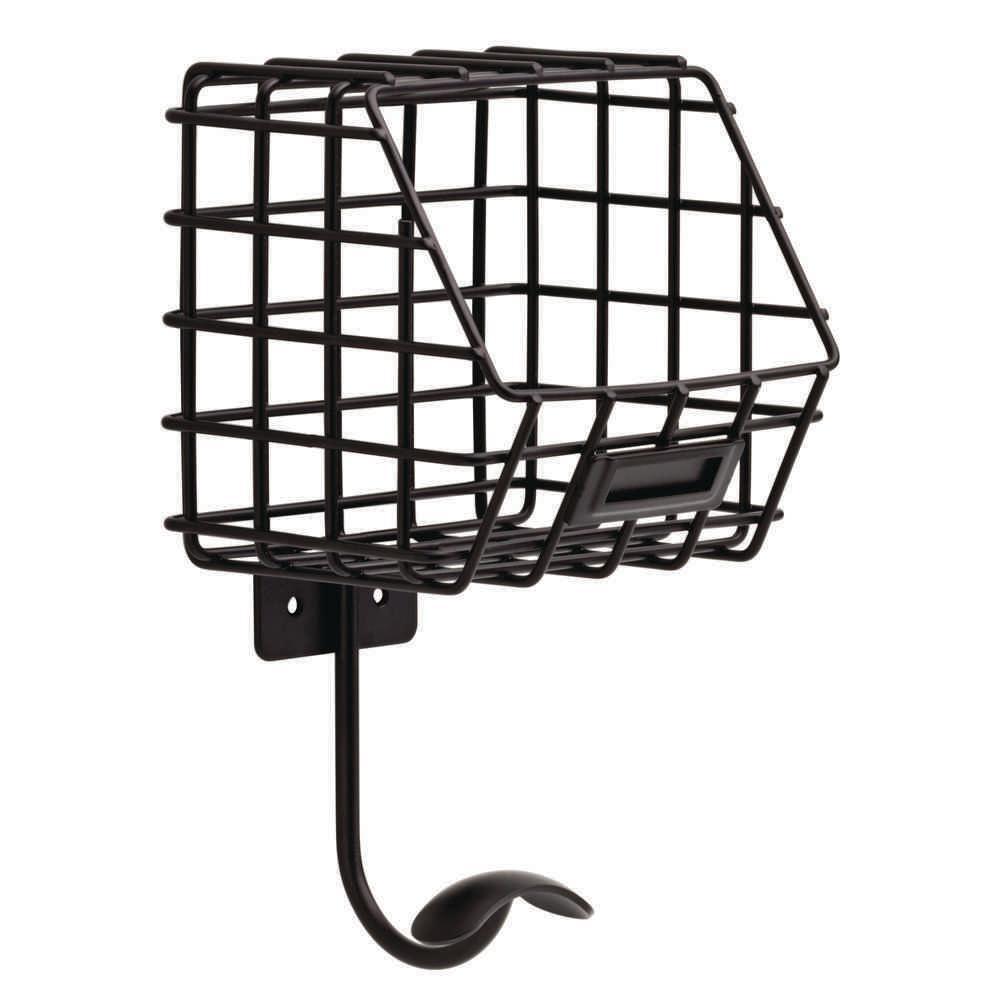 6-1/3 in. Flat Black Industrial Basket with Single Hook