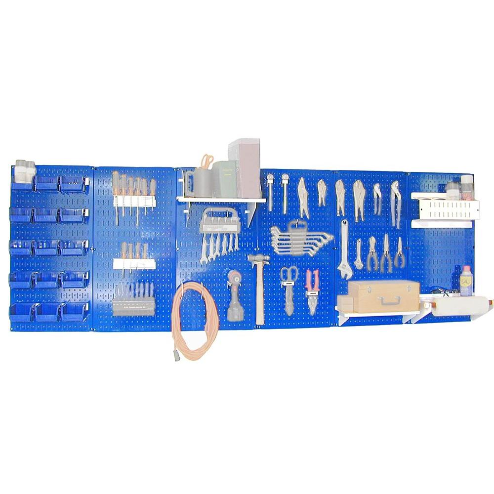 Wall Control 32 in. x 96 in. Metal Pegboard Master Workbench Tool Organizer with Blue Pegboard and White Accessories