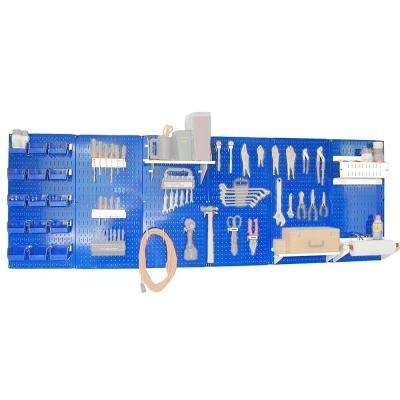 32 in. x 96 in. Metal Pegboard Master Workbench Tool Organizer with Blue Pegboard and White Accessories