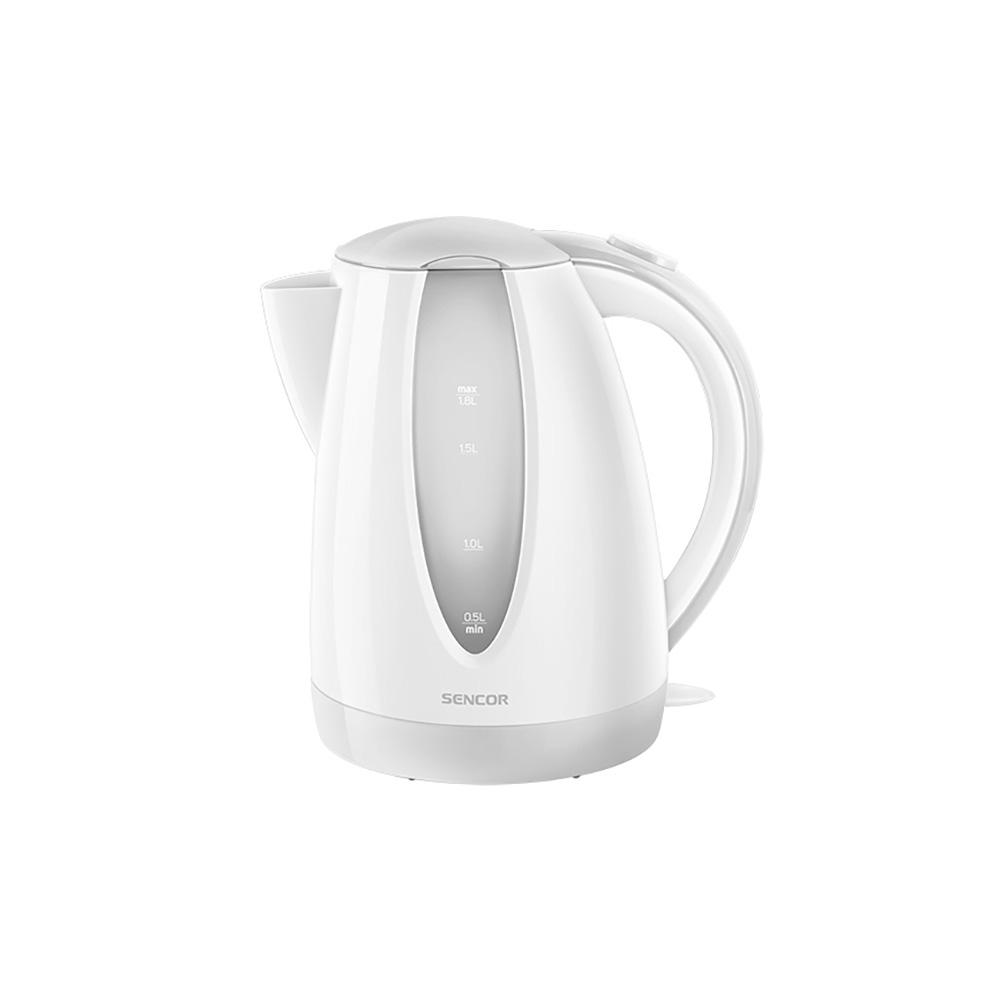Sencor 7.6-Cup Cordless White Electric Kettle with Automatic Shut Off Cordless electric kettles by Sencor heats water twice as fast as stove top, offering better speed, convenience, energy efficiency and safety This electric kettle comes with a 360° swivel and bright finish. Color-coordinate with other kitchen electrics by Sencor to create a beautiful kitchen with European design touch. Color: White.
