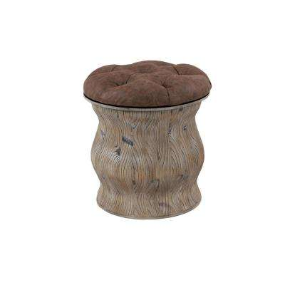 Rustic Wood and Brown Faux Leather Round Storage Ottoman
