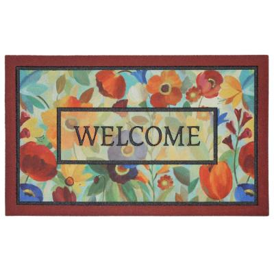 Stain Glass Flowers Multi 18 in. x 30 in. Door Mat