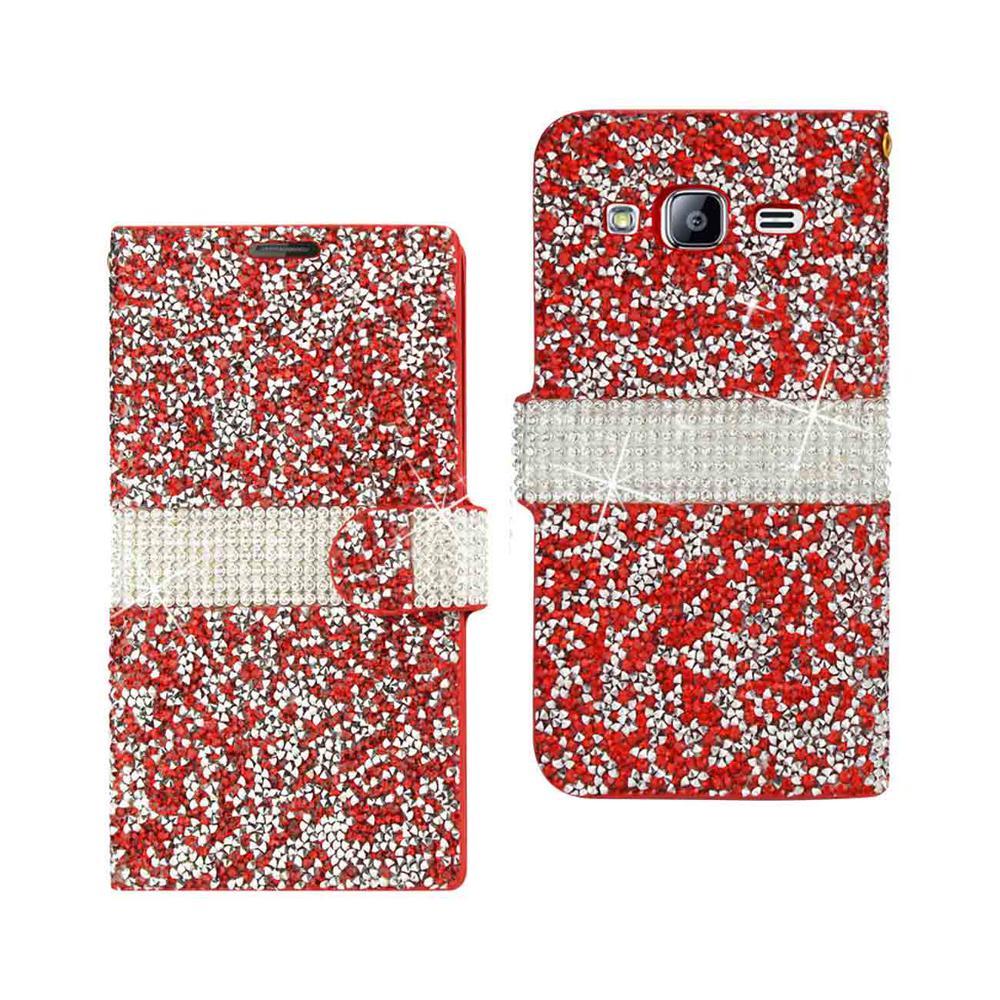 Galaxy J3 Rhinestone Case in Red
