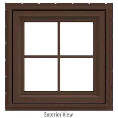 23.5 in. x 23.5 in. V-4500 Series Brown Painted Vinyl Awning Window with Colonial Grids/Grilles