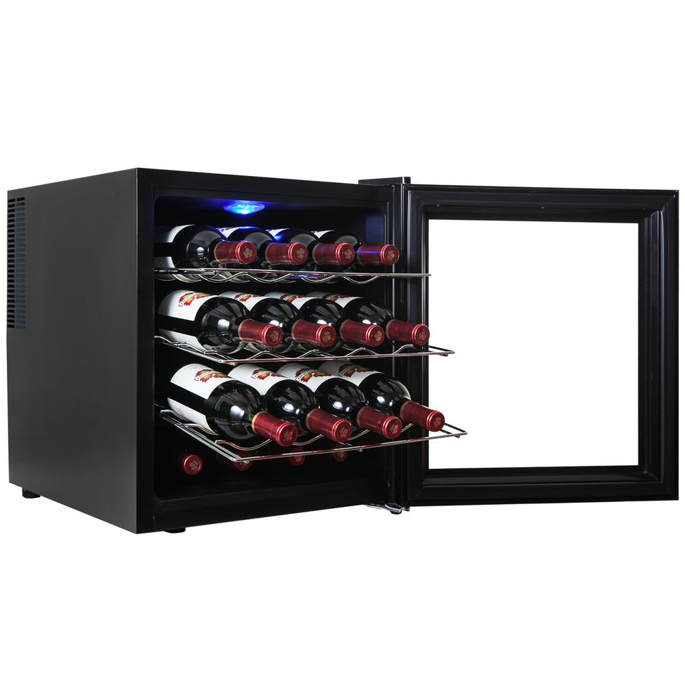AKDY 16-Bottle Wine Cooler, Black Dont let its small size fool you. Our AKDY WC0009 freestanding wine cooler packs a 16-bottle capacity in a space-saving size perfect for kitchen countertops. A full black finish easily matches any kitchen decor and features touch-sensitive controls. Thanks to thermoelectric cooling, this wine cooler is made to be energy-efficient and vibration-free. The internal temperature is always within view with a built-in temperature display. The bottom feet can be adjusted to fit uneven flooring.