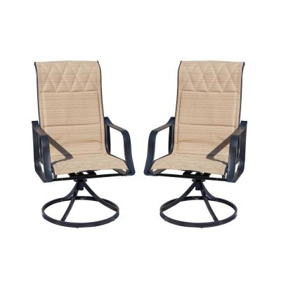 Swivel Padded Sling Outdoor Dining Chair in Beige (2-Pack)