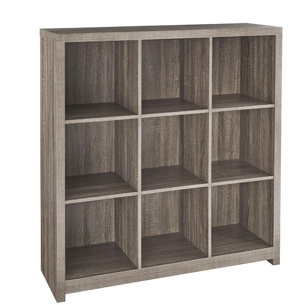 Charmant ClosetMaid 37 In. X 39 In. Premium Weathered Teak 9 Cube Organizer