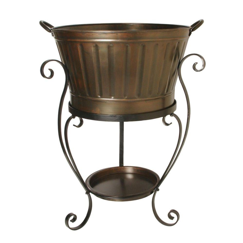 null Antique Copper Round Beverage Tub on Stand-DISCONTINUED